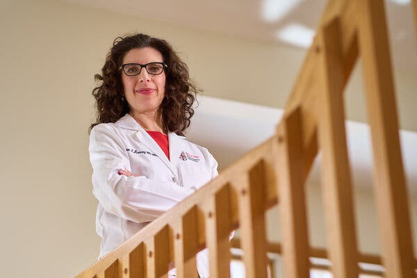 """Dr. Megan Ranney, an E.R. physician at Rhode Island Hospital in Providence. """"I've just got to plow through it,"""" she said during a surge in December."""