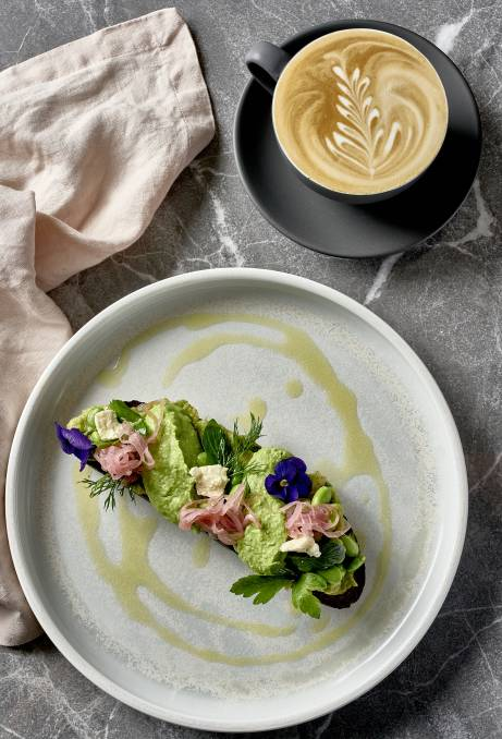 A CUT ABOVE: Avocado toast and coffee, Ms Mary style. Crystalbrook Kingsley's Roundhouse restaurant is now open and championing native Australian ingredients.